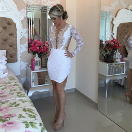 Wholesale sexy mini dress petite for sale – plus size White Long Sleeves Cocktail Dresses Mini Skirt Gold Lace Appliques Party Dresses Homecoming Dresses vestido de noiva
