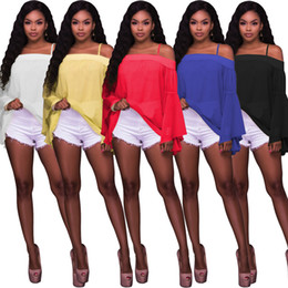 Barato Blusas Transparentes-Womens Strappy Off Shoulder Sheer Chiffon Bluses Top Com Flare Bell Sleeve Loose Cami Shirt 5 Color S-XL Atacado Cheap DHL Fast Shipping