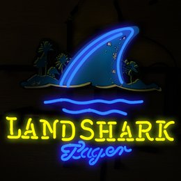shark glasses Canada - Fashion New Handcraft LAND SHARK Real Glass Tubes Beer Bar Pub Display neon sign 19x15!!!Best Offer!