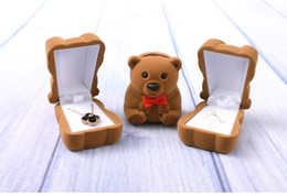 $enCountryForm.capitalKeyWord Canada - [Simple Seven] Cute Brown Bear Wedding Ring Box Plastic Flocking Jewelry Display Ear Studs Velvet Case Gift for Engagemnet