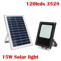 Wholesale Solar Powered Floodlights Canada - Umlight1688 15W 120 LED Solar Light 3528 SMD Solar Powered Panel Floodlight Body Sensor Outdoor Garden Landscape Spotlights Lamp