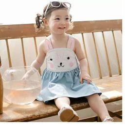 Denim style for babies online shopping - 2017 Summer new girls pure cotton suspender bunny dress baby girl rabbit slip denim blue princess sleeveless dress for years choose size