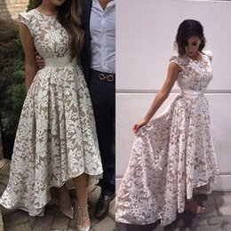 470bfa648786f 2017 New Elegant High Low Evening Dresses Cap Sleeves Full Lace Formal  Party Prom Gowns Runway Red Carpet Dresses Evening Wear