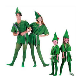 Barato Peter Cosplay-Malidaike Anime COS Halloween Green Wizard Robin Peter Pan Criança adulta Peter Pan Peter Pan Little Greenman Cosplay Costume