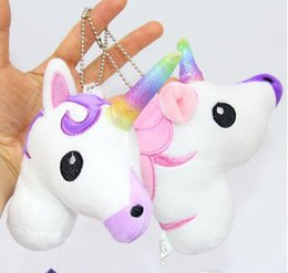 Nouveau sac à dos Licorne pendentif de bande dessinée Licorne jouets en peluche 10 cm / 4 pouces porte-clés animaux en peluche