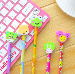 wooden stationery sets UK - school office supplies korean stationery set cute cartoons wooden pencils with erasers for students kids gifts writing supplies
