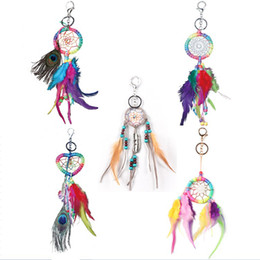 $enCountryForm.capitalKeyWord Canada - Handmade Keychain with Peacock Feathers Dreamcatcher Car Bag Car Charm Pendant Hanging Decoration Crafts Colorful Dream Catcher Gift