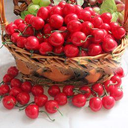 House Home Kitchens Australia - Wholesale- 50 PCS Plastic Artificial Cherry Crafts Fruit Crafts House Party Kitchen Home Decor Wedding Decoration Artificial Flowers