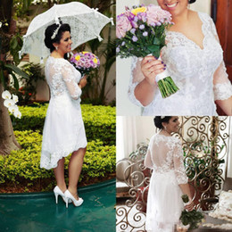 Short Wedding Dress Feathers Ivory Canada - 2016 A-line Sexy Promotion Sale Custom Short Wedding Dresses with Half Long Sleeves Illusion Hi Lo Bridal Gowns Lace Free Shipp