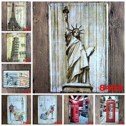 Gift Telephone Canada - Retro Building Statue Metal Tin Sign 20*30cm Iron Paintings Goddess Of Victory Eiffel Tower Paris Tin Poster Red Telephone Booth 4rjee