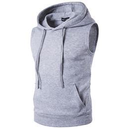 men fleece sleeveless hooded vest 2019 - Wholesale- 2017 Men's Fashion Fleece Plain Fit Hooded Sleeveless Vest hoodies cheap men fleece sleeveless hooded ve
