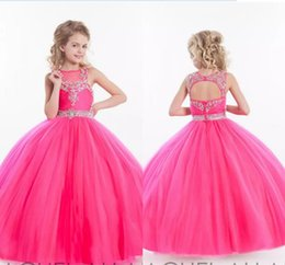 12 ans de robes Pas Cher-2017 Nouveau Bling Bling Rose Red Girs Pageant Robes Beading Crystal Belt Décoré Ball Gowns pour enfant en bas âge Birthday Flower Girl Dress