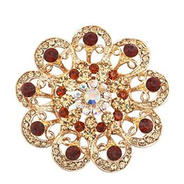 Flower Brooch Black Gold Canada - Vintage Fancy Gold Plated Cute Sun Flower Crystal Rhinestone Brooches and Pins