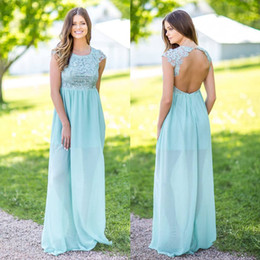 Robe En Dentelle En Mousseline De Soie Verte Pas Cher-Stylish Mint Green Lace Country Robes de demoiselle d'honneur Long Jewel Neck Open Back Robe d'invité de mariage Longueur de plancher Chiffon Maid Of Honor Gowns