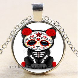 Sugar SkullS online shopping - 10pcs Sugar skull Chain Necklace Christmas Birthday Gift Cabochon Glass Necklace Silver Bronze Black Fashion Jewelry Pendant A580