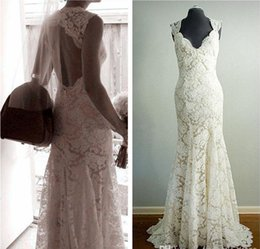 Barato Mais Novo Estilo Vestidos De Noiva-Novos Estilo Backless Full Lace Vestidos de casamento Cap Sleeve V-Neck Sweep Train Bainha Long Ivory Bridal Gowns Custom Made Real Picture