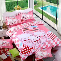 Wholesale Cotton Bedding Sets Cartoon Hello Kitty 4pcs Bed Set Duvet Cover Bed  Sheet Pillowcase Soft And Comfortable King Queen Size