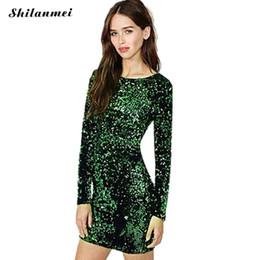 13b2d1682c39 Wholesale- Green Sequin Dress Women Sexy Club Dresses 2017 Slim Fit  Backless Bodycon Party Nightclub Mini Vintage Dress vestido lentejuelas