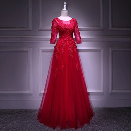 Backless Scoop Prom Dresses Canada - In Stock Red Tulle With Appliques Beaded Scoop Neck Transparent Half Sleeve Backless Lace Up Floor Length Ball Gown Plus Size Prom Dress