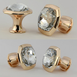 Wholesale modern simple fashion clear glass crystal drawer tv table knobs pulls rose gold Rhinestone kitchen cabinet cupborad door handles