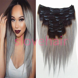 Free Shipping 8A Ombre Hair Clip In Human Extensions Brazilian Virgin Grey Weave 120g