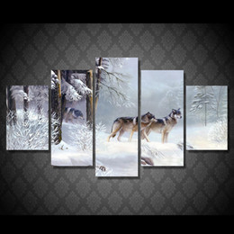 forest oil paintings NZ - 5 Pcs Set Framed HD Printed Snow Forest Wolf Picture Wall Art Canvas Room Decor Poster Canvas Abstract Oil Painting