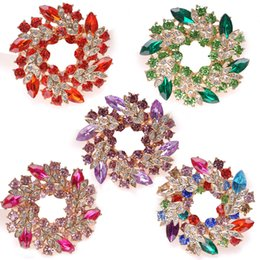 china floral brooch UK - 7 Styles Fashion Costume Pin Brooch Luxurious Bling Crystal Bauhinia Flower Scarf Jewelry Delicate Floral Wreath Pin Brooch B536S