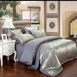 discount design silk sheets europe design embroidery satin silk jacquard bedding set 4pcs bedclothes bed linen