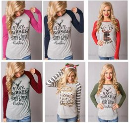 Barato Mulheres T Shirts Xl-Natal Deer T-Shirt Mulheres Christma Elk Long Sleeve Letters Shirts Xmas Tops Blusa Casual Santa Claus Moda Plus Size 15 Designs