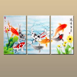 Gift Giclee Print Home Art Wall Decor Chinas Wind Feng Shui Fish Koi Painting Animal Printed On Canvas Modern For Living Room Abc321