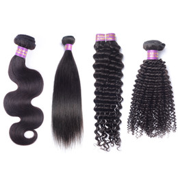 Discount unprocessed curly mixed hair weave - Brazilian Hair Peruvian Malaysian Indian Hair 3pcs lot Unprocessed Virgin Human Hair Straight Body Wave Deep Wave Kinky