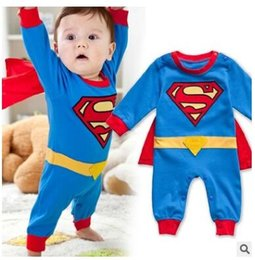 Barato Superman Rompers Baby Boy-Superman Romper Baby Boy Batman Jumpsuit Long Sleeve Christmas Costume Gift Boys Rompers Spring Autumn Clothing Free Ship
