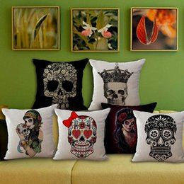 Skull car pillow online shopping - Europe And The United States Cushions Linen Cover Personality Retro Pillow Case Skull Head Linen Cushion Covers Car Pillows Cases my R