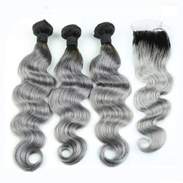 8A Grade Peruvian Grey Hair Weave With Closure Body Wave Two Tone Ombre 1b Silver Gray Ombre Human Hair Bundles And Lace Closures