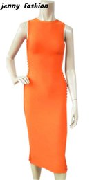 Barato Vestidos De Baile Para Atacado-Atacado- Jenny Fashion Wholesale Great Quality 2016 New Orange Mulheres O Neck mangas Prom Midi Bandage Dress