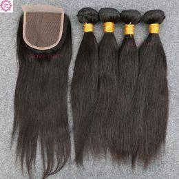 High Quality Bundle Human Hair NZ - 8A Grade High Quality No Tangle 4 Bundles Wefts With Lace Closure Slove Rosa Brazilian Human Virgin Hair Free Ship High Quality
