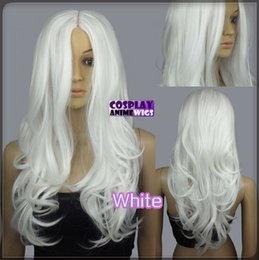 Blue White Curly Wigs Canada - 60cm White Heat Styleable No Bang Curly wavy Cosplay Wigs 38_101