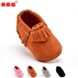 Crochet Baby Footwear Australia - Wholesale- New PU Suede Leather Newborn Baby Boy Girl Baby Moccasins shoes, first walker Fringe Soft Soled Non-slip Footwear Crib Shoe
