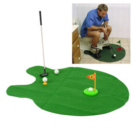 d0f5d49c18f HOT SALE Wholesale- Bathroom Funny Golf Toilet Time Mini Game Play Putter  Novelty Gag Gift Mat Set