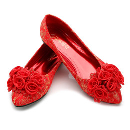 Plus size flat bridal shoes online shopping - Plus size Chinese Wedding Red Shoes High Heels Bridal Shoes Cheongsam Shoes A02