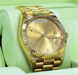 online shopping 18 ct yellow gold DAYDATE self winding mechanical movement Champagne dial Fluted bezel Concealed folding Crown clasp Mens Wristwatches