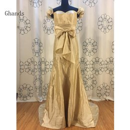 Barato Vestido De Baile De Formatura Taffeta Mermaid Barato-Ghands 2017 New Cheap Trompete / Mermaid Off-Shoulder Beads Taffeta Court Train Plus Size Vestido formal Evening Dress Personalizar / Cor