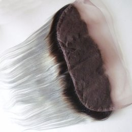 Brazilian Human Hair Ombre Grey NZ - T1b Grey Ombre Brazilian Straight Lace Frontal Closure 13*4 Free Part Cheap Virgin Remy Human Hair Two Tone Ear To Ear Lace Closure