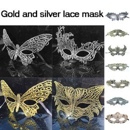 Barato Meninas Fantasia Vestidos De Prata-2017 New Gold Silver Lace Party Máscara Halloween Face Party Máscara Cosplay Máscaras para meninas Head Lace Sexy Mask Fancy Dress Costume