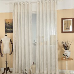 Coffee Striped Design Window Gauze Sheer Curtains For Living Room Balcony Kitchen  Drapes Voile Tulle Curtain For Window Fabric