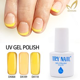 Gros Colle À Ongles Pas Cher Pas Cher-Vente en gros- TRY ongles ongles Gel Polonais UV LED lampe de gel 151 Shiny couleurs jaunes 6ML longue durée Soak Off gel ongles colle vernis pas cher manucure