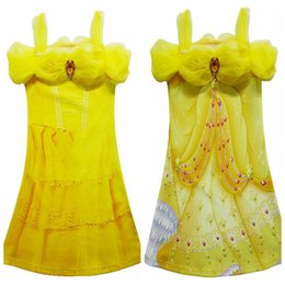 Chinese  Yellow Party Flower Girl Dresses Tulle Tutu Dress Belle Princess Costume Halloween Beauty and the Beast Cosplay Dress For Kids manufacturers
