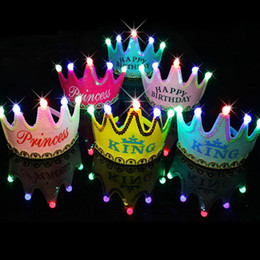 happy birthday caps 2019 - Wholesale-Birthday Party kings Princess Crown LED Light Hat Birthday Party Happy New Year Crown Hat Party Decoration Par
