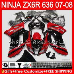 Red black kawasaki zx6R online shopping - Bodywork For KAWASAKI NINJA top Red BLACK ZX636 ZX6R CC ZX600 C NO3 ZX ZX ZX R ZX ZX R Fairing kit