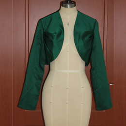 Vestes Élégantes Pas Cher-Dark Green Women's Wrap Shrugs Satin Wedding Party Elegant Modeste Bolero à manches longues Mini veste de mariée Cheap High Quality